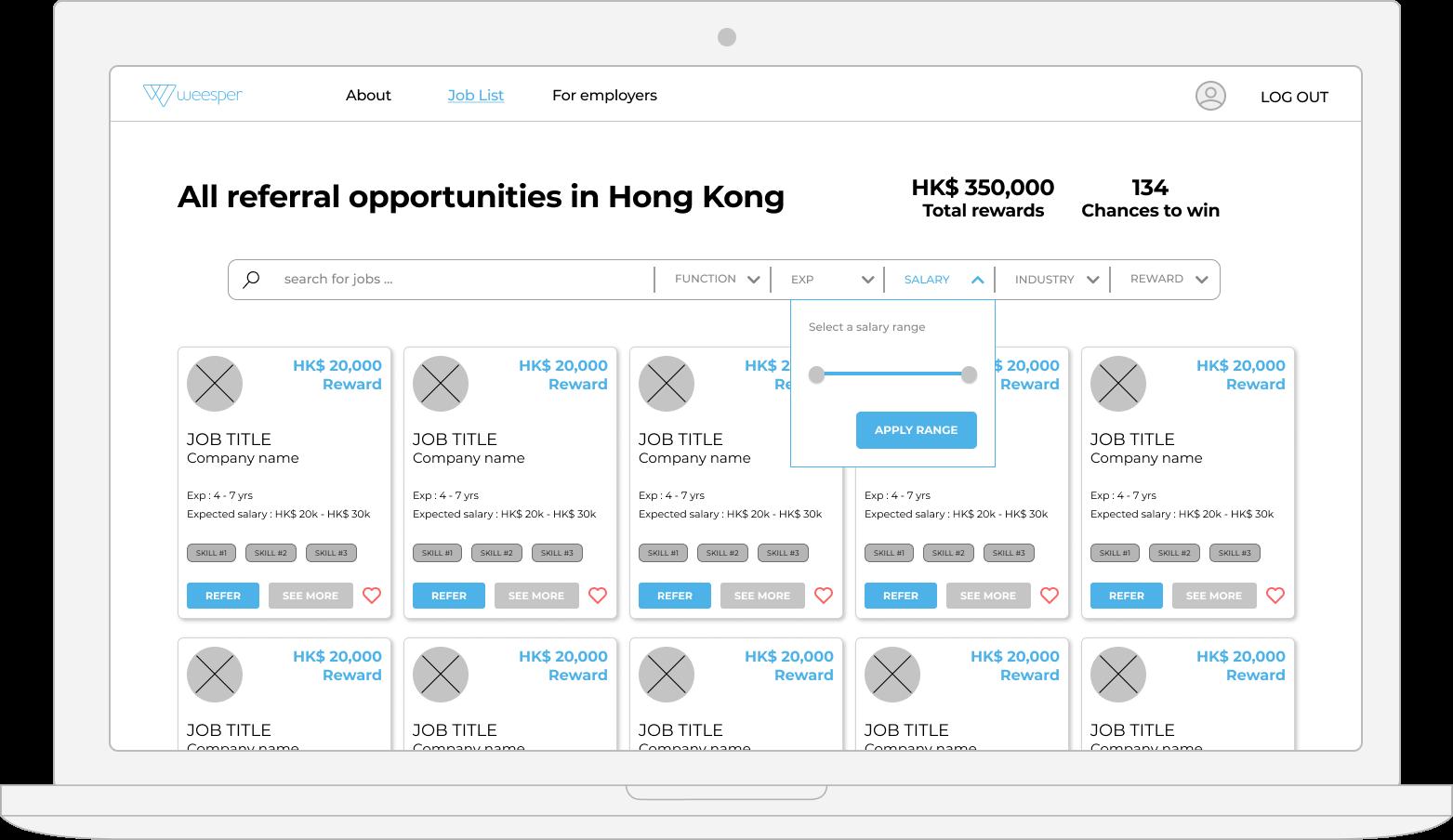 weesper job list desktop web design