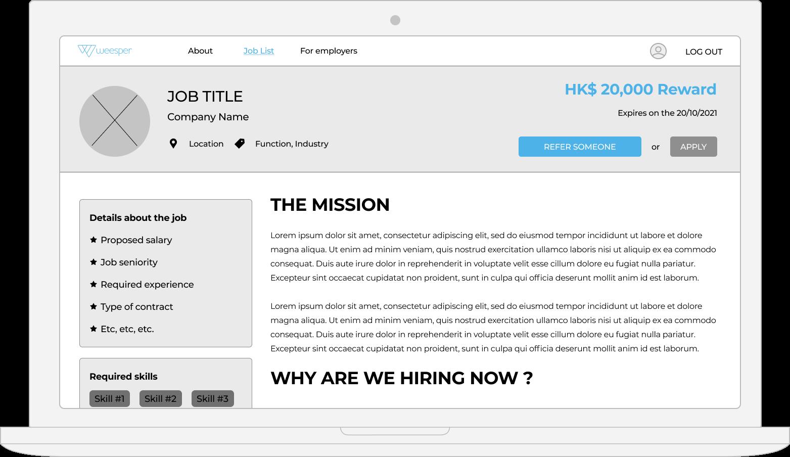 weesper job page desktop web design