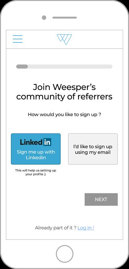 weesper mobile sign up web design