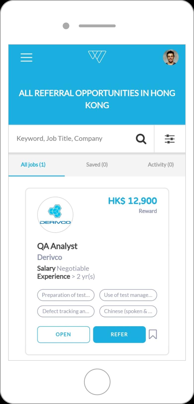 weesper job list mobile screen